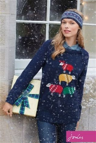 Buy Joules Chrissie Navy Sheep Knitted Jumper from the Next UK online shop
