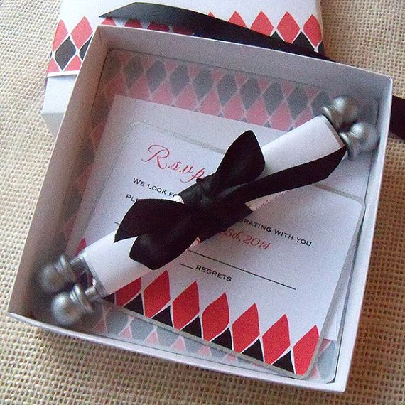 Alice In Wonderland Birthday Invitation, Boxed Scroll Suite With White  Rabbit, Black Red And Silver, 25