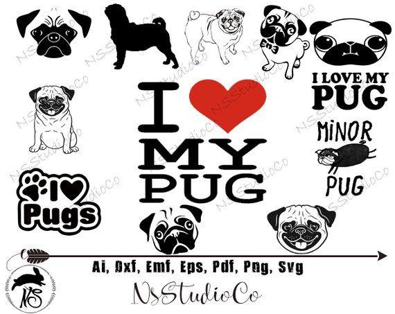Pug Svg Pug Vector Pug Clipart Pug Svg Files Pug Digital