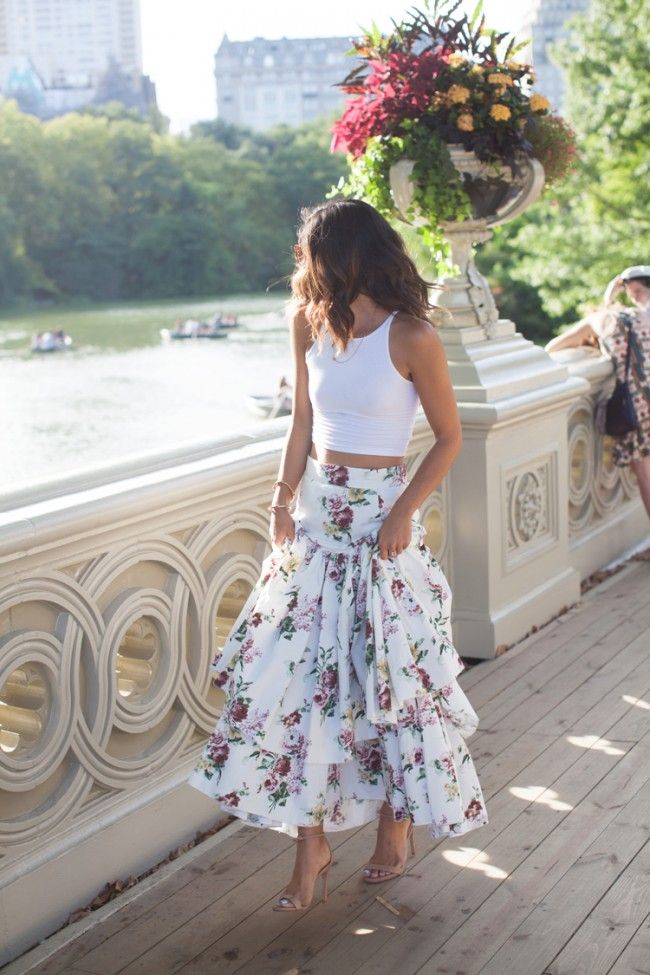 time, tomorrow, white, ruffle, floral, midi, skirt, fall | Fashion ...