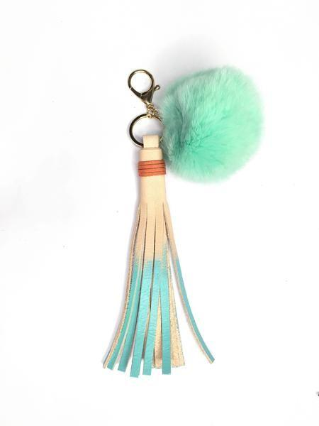 Mint Green Pom-pom Keychain with Tassel  // Stylish flair for your keys // FUN Leather accessories handmade by StudiOH, Shoppe!