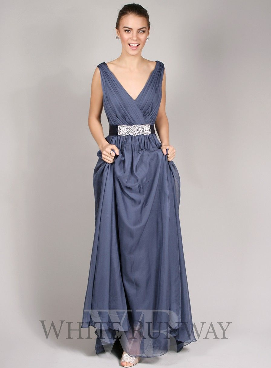 aad5ba2d12 Justine Dress. A stunning full length dress by Jadore. A V-neckline style  featuring vertical ruching on the bust and an embellished belt.