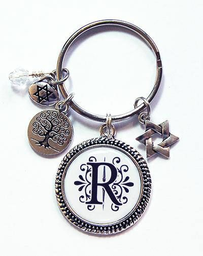 Star of David Charm on  Keychain with Crystals
