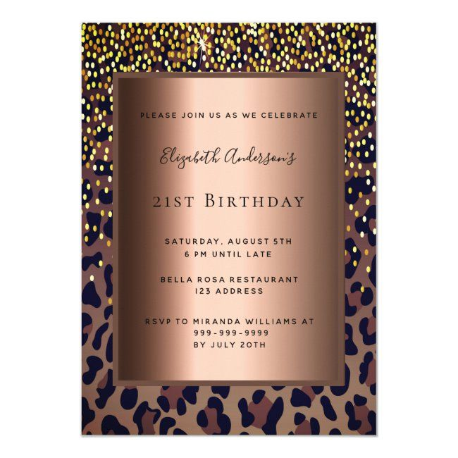 21st Birthday Party leopard pattern bronze Invitation #Ad , #Paid, #leopard#Party#bronze#pattern