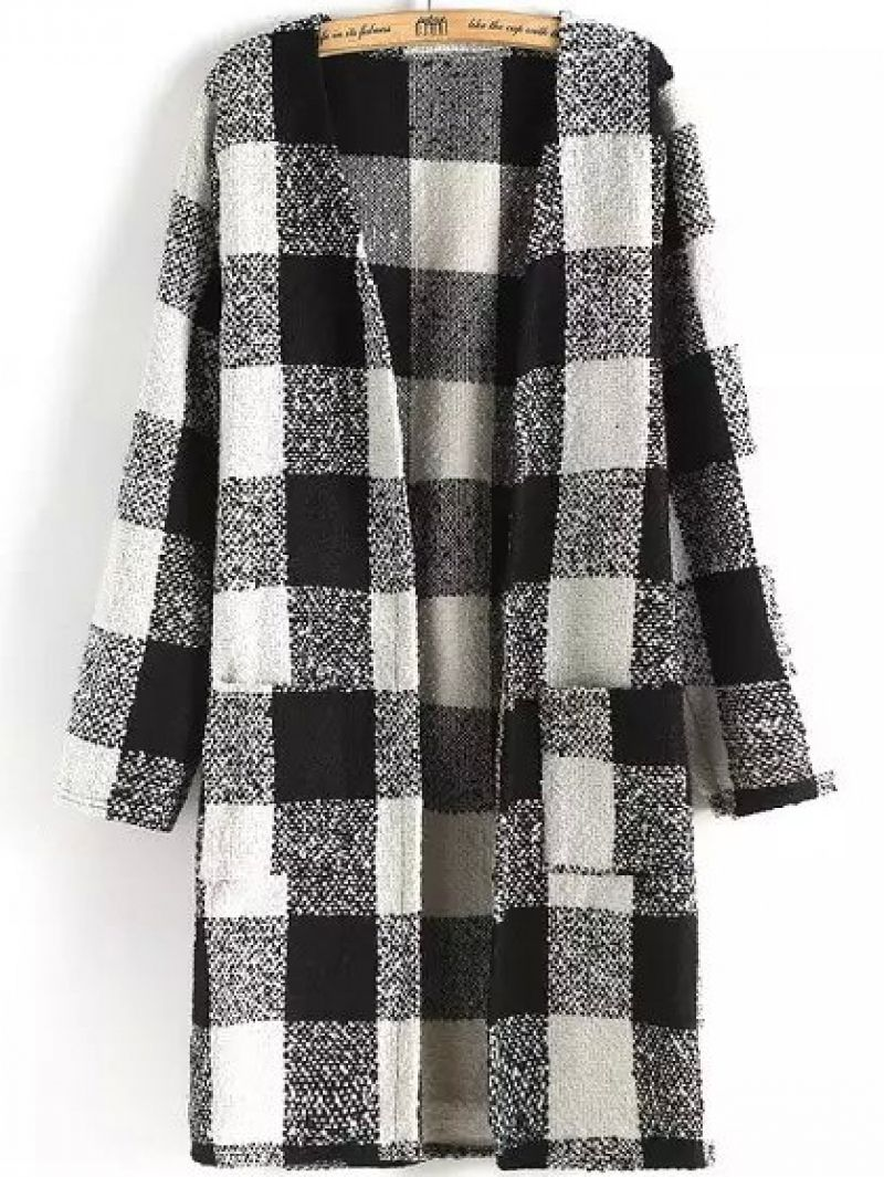 Plaid Pockets Black and White Coat