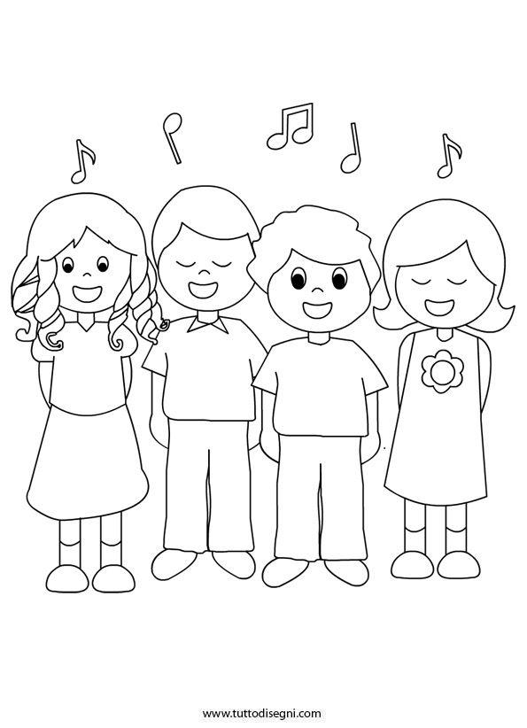 Bambini Che Cantano Da Colorare Tutto Disegni Educational