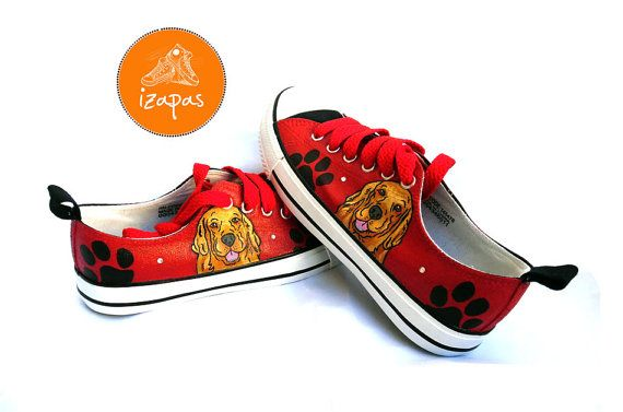 4ae5ede4265d3 Golden Retriever Painted Sneakers, personalized dog canvas shoes ...