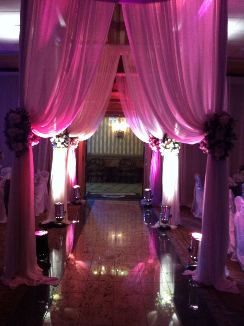 Wedding Reception Draping And Lighting Flowers By Renee Dearborn