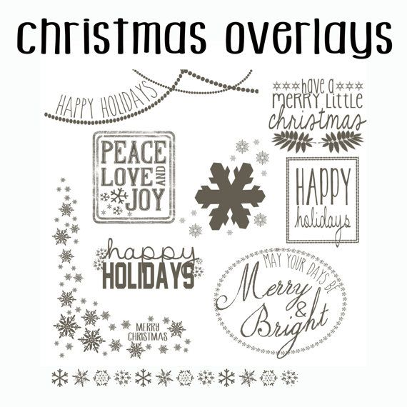 instant download psd photoshop christmas overlay set - doodle - set of 8 overlays