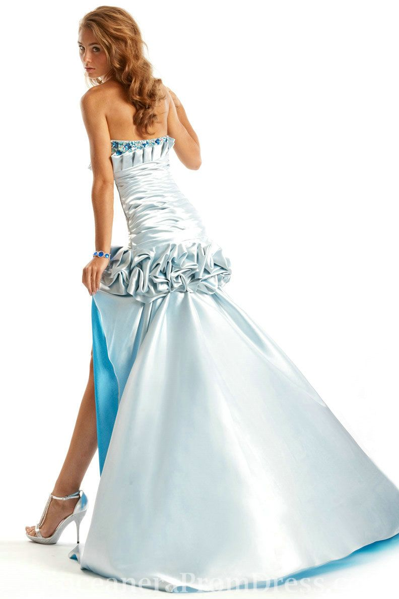 Strapless ruched sweetheart high low rhinestone silver how to make a