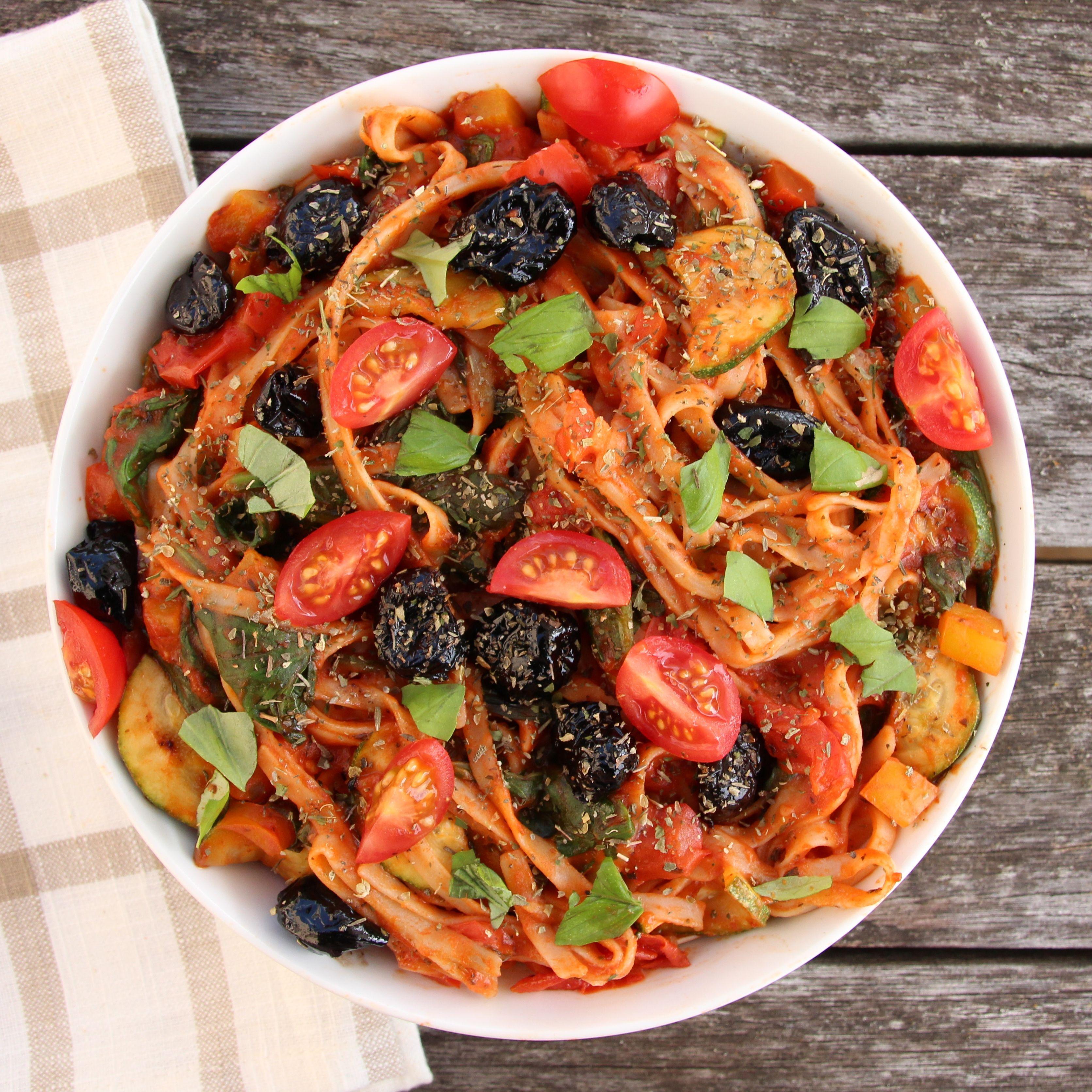 Mediterranean vegetable spaghetti receta recetas para for Cenas sin cocinar