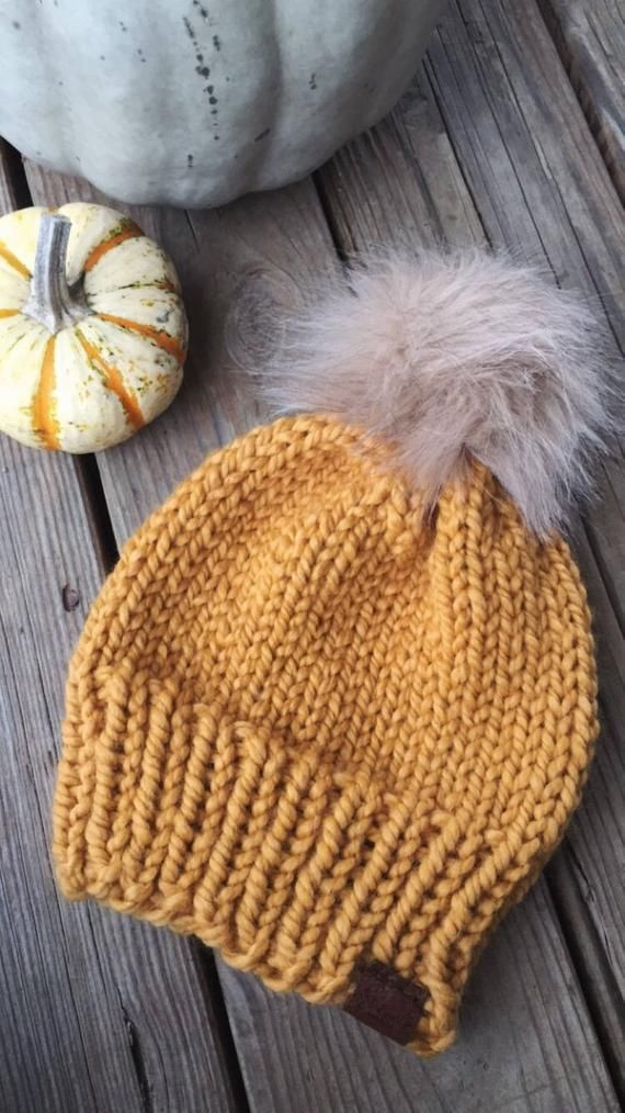 6f1533e24 Basic Chunky Knit Fur Pom Pom Beanie | Navy | Products | Fur pom pom ...