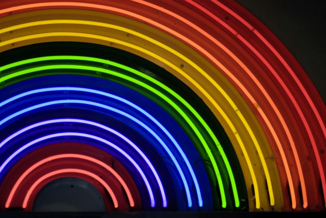 Neon Rainbow Sign Neon Signs Rainbow Wallpaper Neon Wallpaper