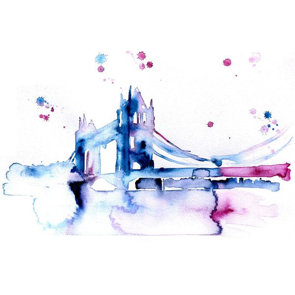 London Originsl Abstract Watercolor Painting Tower Bridge