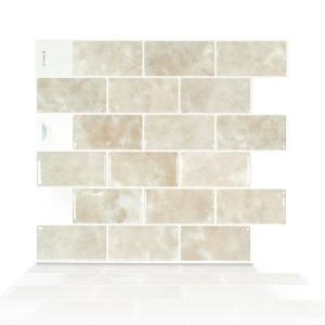 Subway Sora 10 95 In W X 9 70 In H Beige Peel And Stick Self Adhesive Decorative Mosaic Wall Tile Backsplash In 2020 Smart Tiles Mosaic Wall Tiles Peel N Stick Backsplash