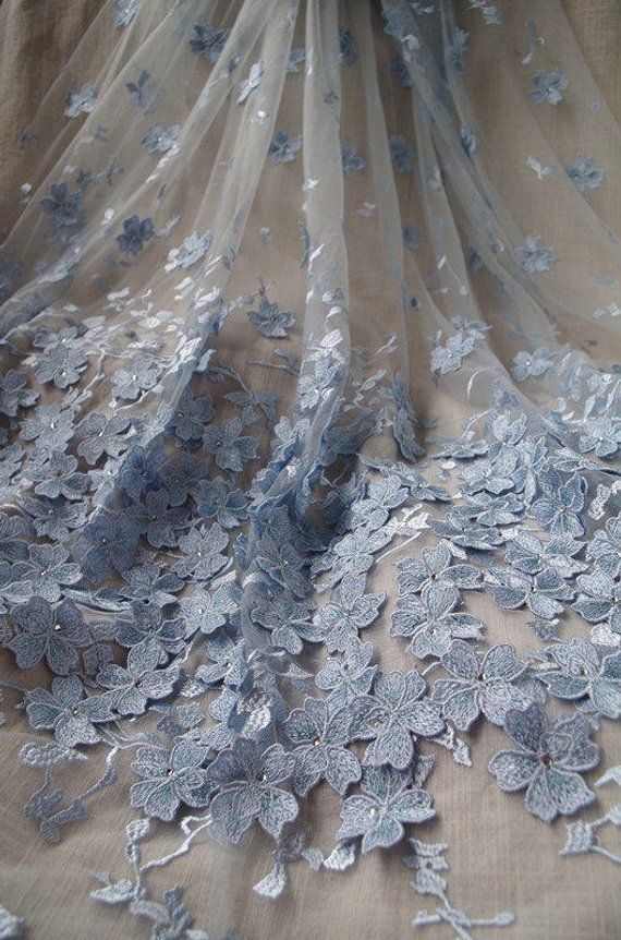 blue heavy embroidered lace fabric with 3D flowers d06849cc4cef