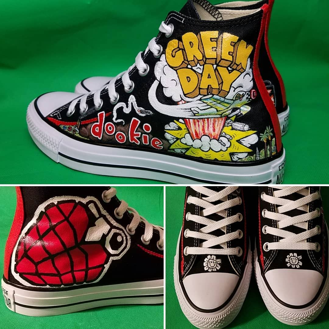 Custom converse **SOLD**custom hand painted die young red