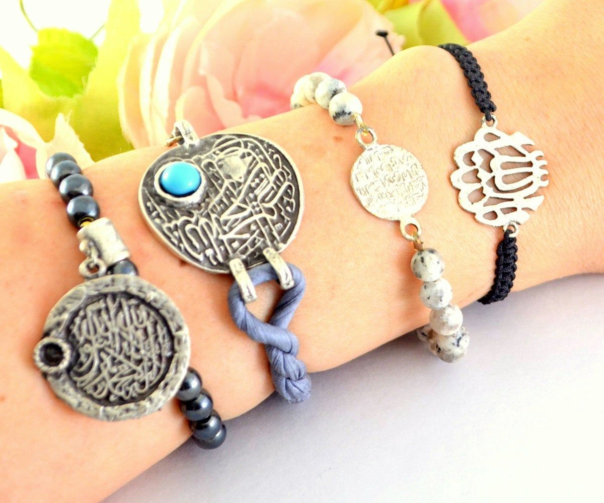 Grey Holy beads Muslim Bracelet, Arabic Islam Bangle, Muslim Fasting Month Gift, Muslim Calligraphy Art Jewelry, Muslim Lady Kuran Bracelet