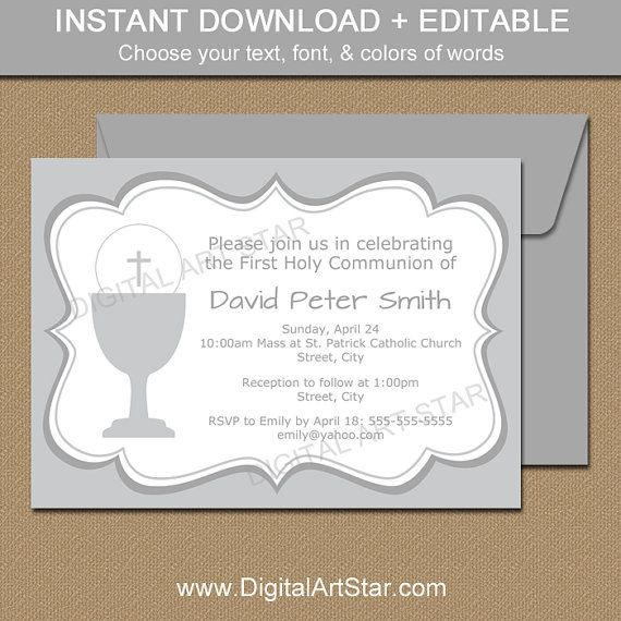 photograph regarding First Communion Cards Printable identified as Printable To start with Communion Invites - EDITABLE Grey Initially