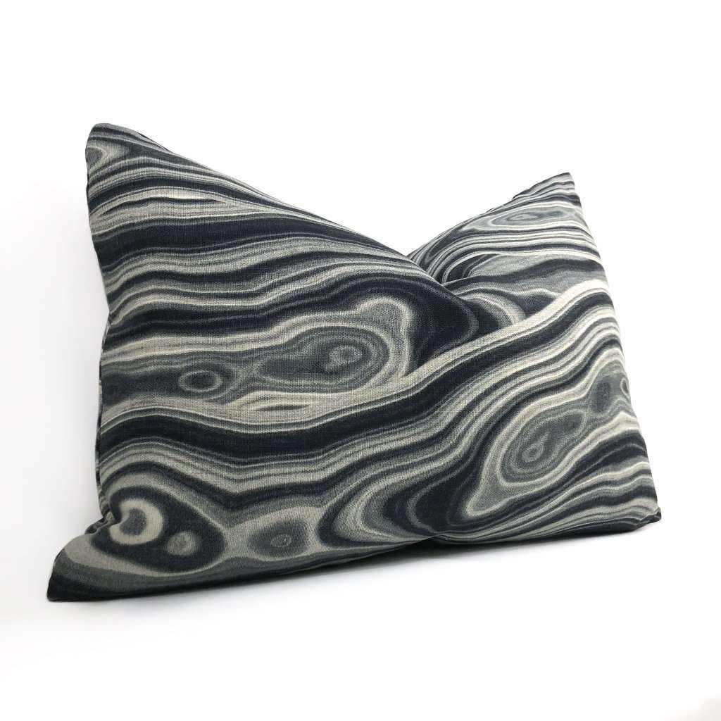 Robert Allen Black Gray White Abstract Geology Pattern Decorative Throw Pillow Cover - Fits 16x26 insert (15x25 cover)