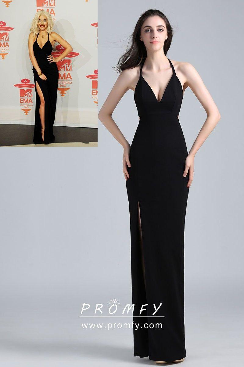 615d7e498e Rita Ora celebrity inspired black open back sheath long prom dress. Deep V  neckline with halter straps. Sheath silhouette with thigh-high slit.