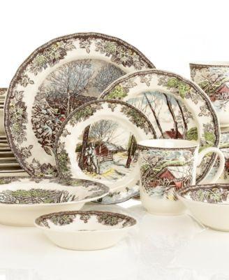 macy\u0027s plate sets   Johnson Bros. Dinnerware Friendly Village 28-Piece Set  sc 1 st  Pinterest & Spode Dinnerware Woodland Bird Collection   Dinnerware Dish sets ...