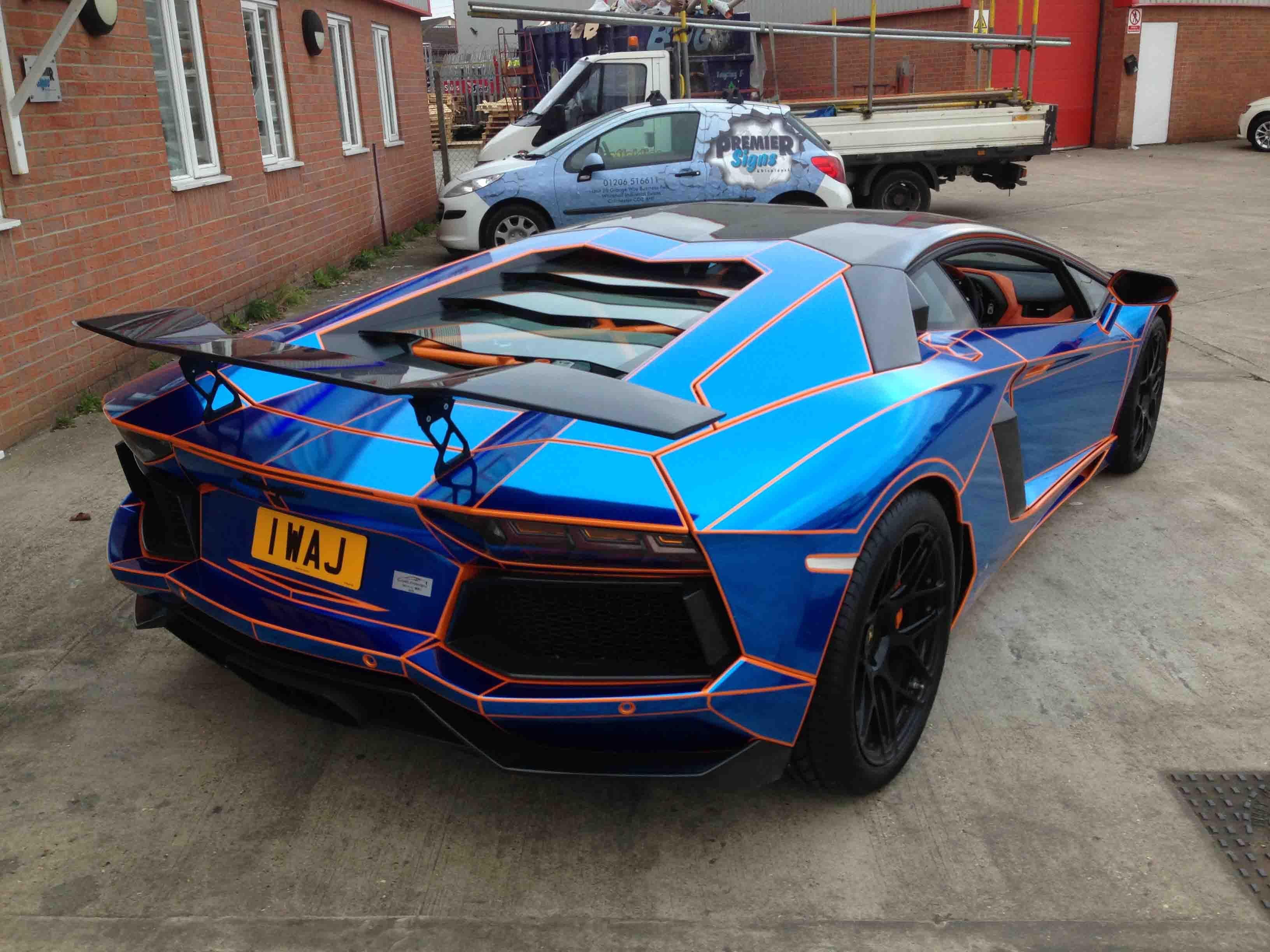 Blue Chrome Tron Style Wrap By Premier Signs To Orange Oakley Design Lamborghini  Aventador LP760