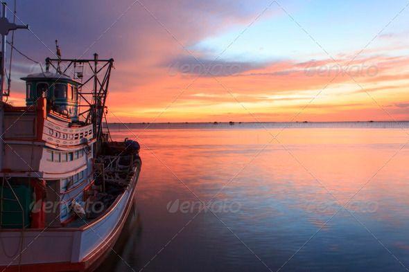 Fishing boat on the beach when sunset ...  asia, asian, bay, beach, blue, boat, coast, coastline, culture, dilapidated, exotic, fisherman, float, grunge, harbor, harbour, industrial, industry, jetty, landscape, marine, nautical, ocean, puddle, retro, sail, sand, sea, seascape, shore, sky, solitude, sun, sunrise, sunset, sunshine