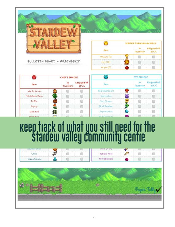 Stardew Valley, checklist, bulletin board community center