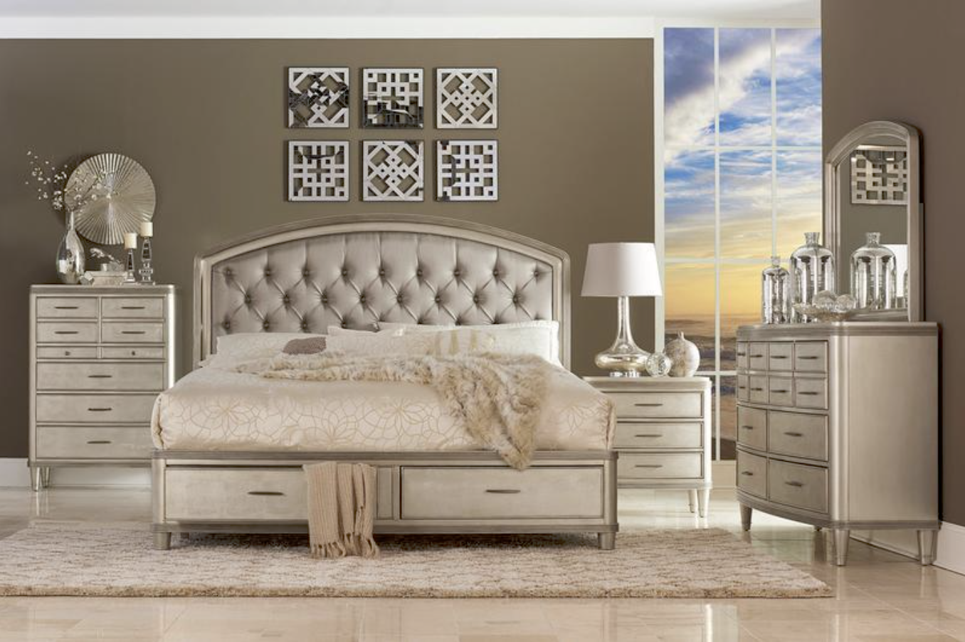The Tandie Bedroom Collection By Homelegance Furniture Is Such A Perfect Set For Any Feminine Classy Bedroom If Platform Bedroom Sets Bedroom Sets Furniture