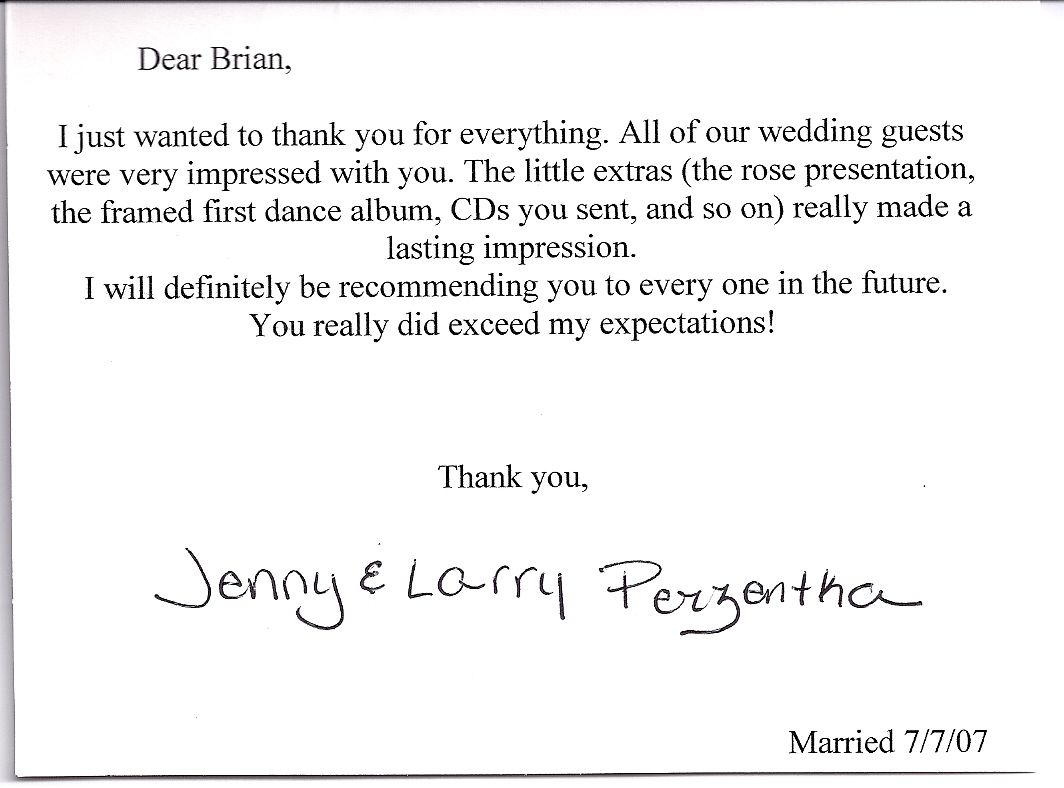 Thank You Letter For Wedding Gift: Wedding Thank You Card Wording For Vendors