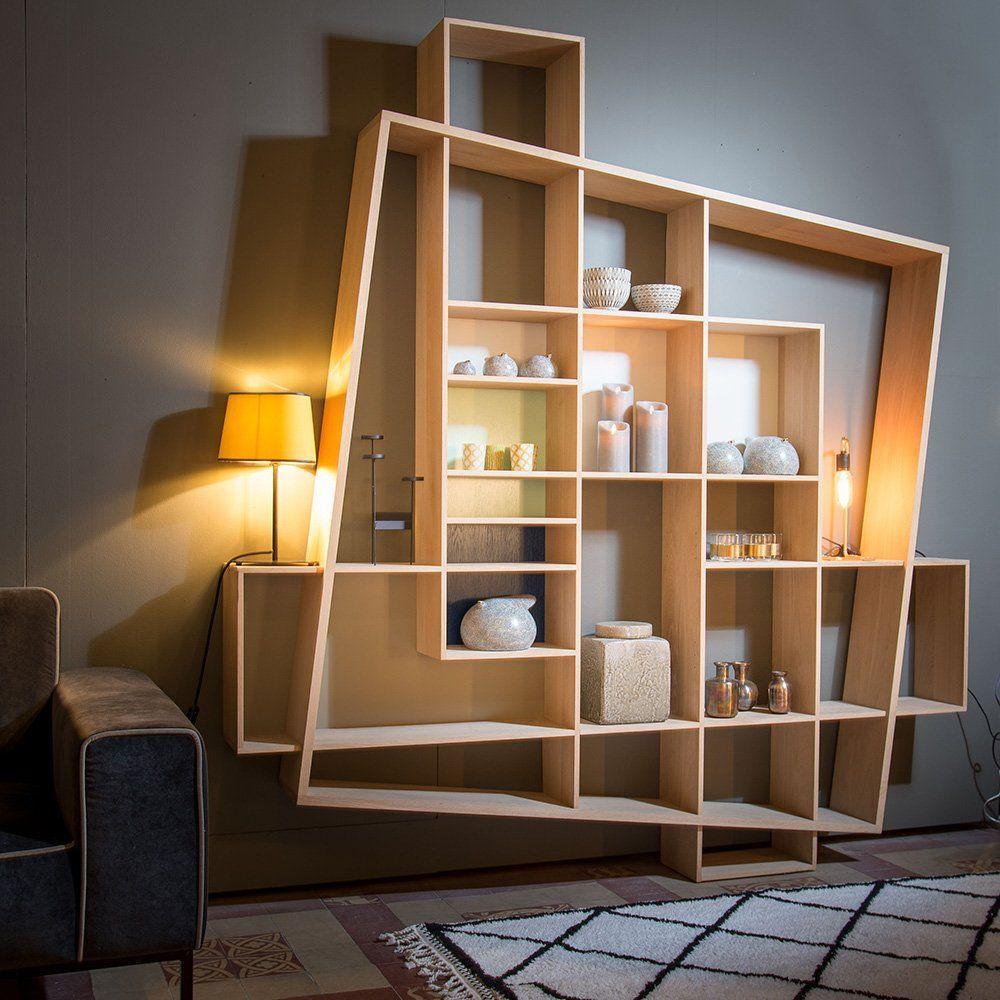 Bibliotheque En Bois Design Scandinave Drugeot Labo House  # Bibliotheque Murale Pour Televiseur Avec Foyer Electrique