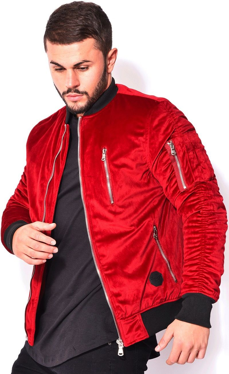 Red Velour M1 Bomber Jacket With Parachute Sleeves That Should Be Mine Red Bomber Jacket Men Fitted Bomber Jacket Red Bomber Jacket