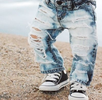Buying these for Cruz...I mean, come on.   Straight Up Shredded Custom Made to Order Distressed Denim Pants baby toddler kids 0-8yrs