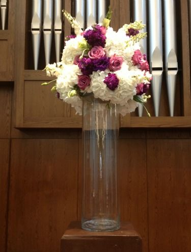 Altarpieces, Floral Altarpieces, White Hydrangeas, Purple Stock, Cool Water Roses, White Delphinium, Purple Lisianthus, Posh Floral Designs, Lovers Lane United Methodist Church, Dallas TX, Ideas for altarpieces, Purple Weddings, Fall Weddings