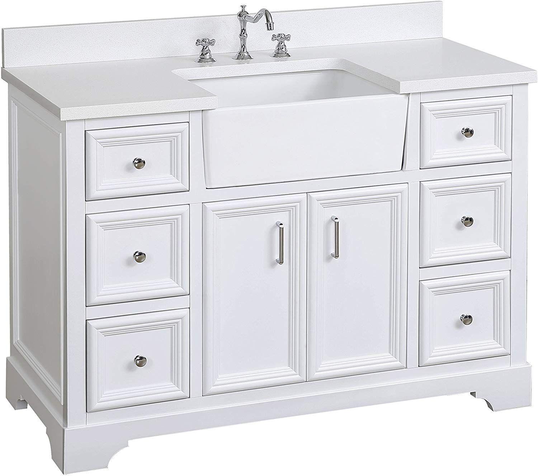 Zelda 48inch Bathroom Vanity Quartz White Includes a