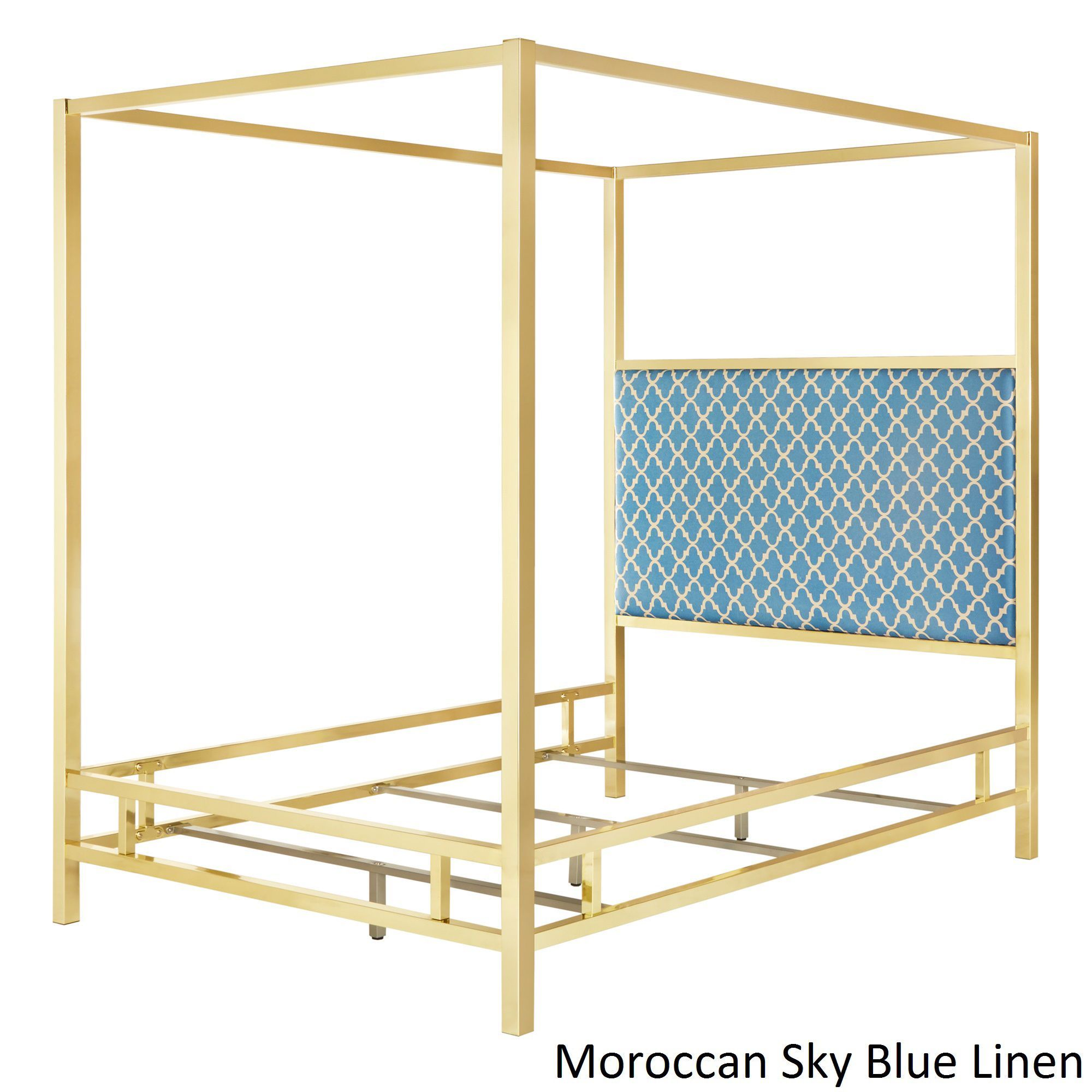 Solivita Full-sized Canopy Gold Metal Poster Bed by Inspire Q (Moroccan Sky  Blue