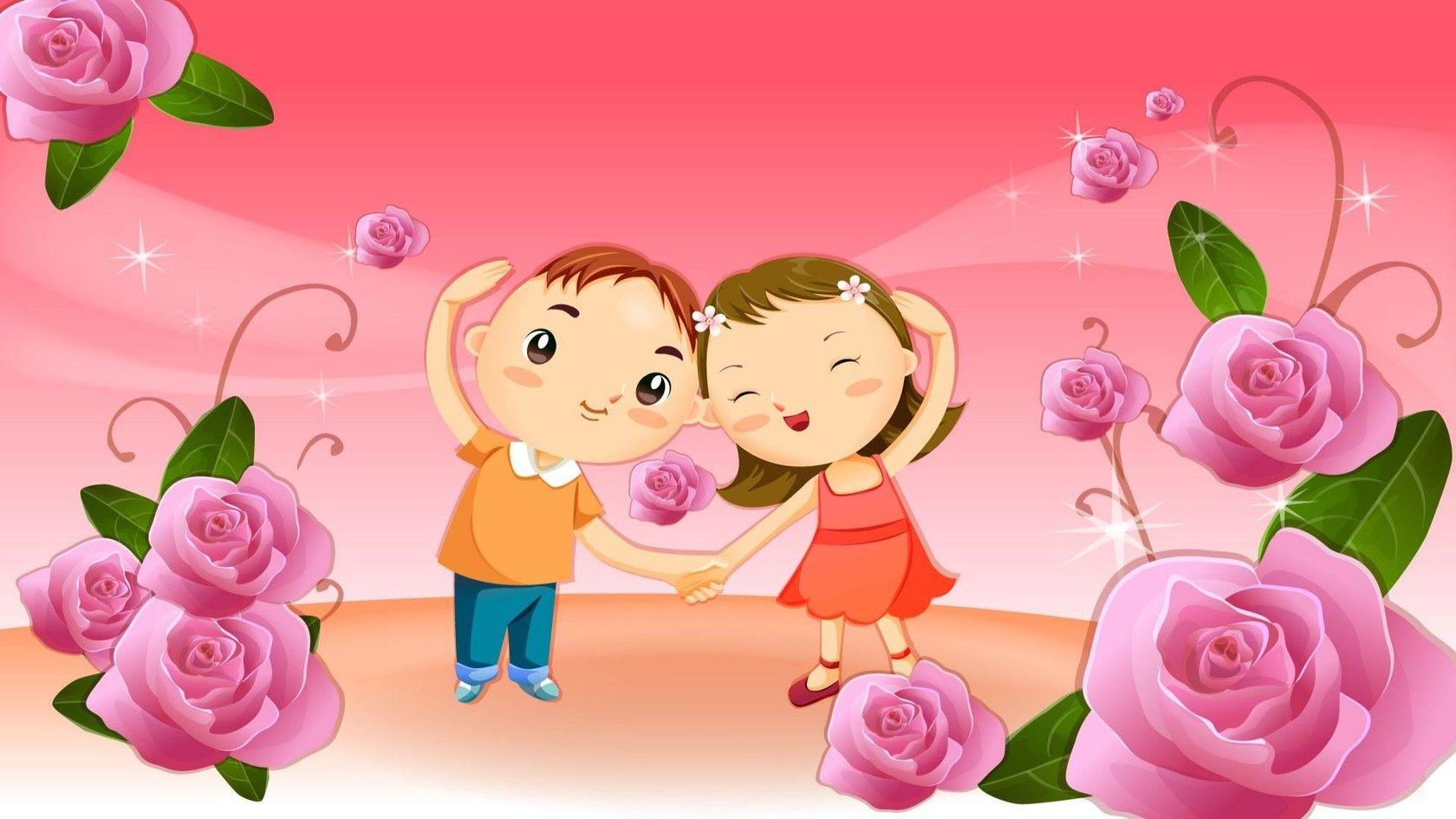 Vector Cartoon Couple In A Rose Garden Wallpaper Hd Imashon Com Friendship Day Wallpaper Happy Friendship Day Cute Cartoon Wallpapers Cute rose day couple hd wallpaper