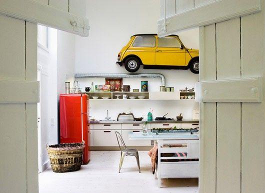 Red Smeg with yellow mini.