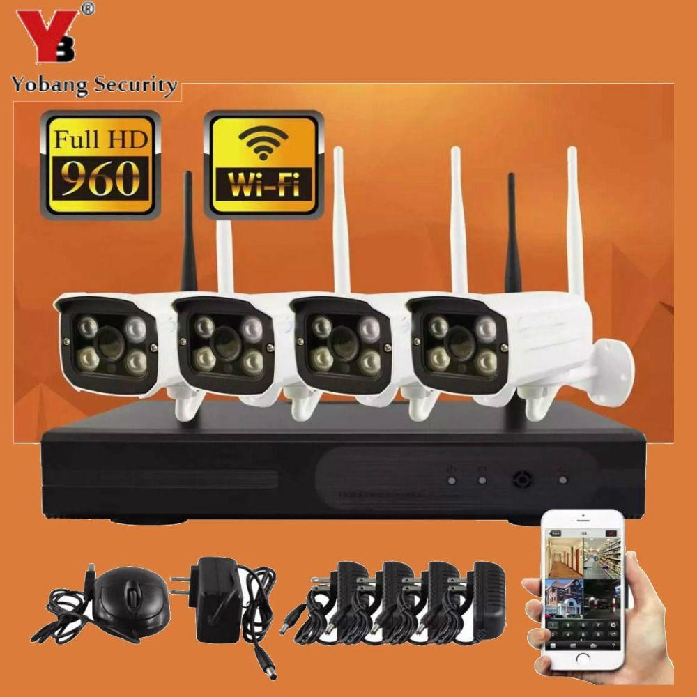 YobangSecurity 4CH Wireless Wifi NVR Camera System 960P 4x Wifi