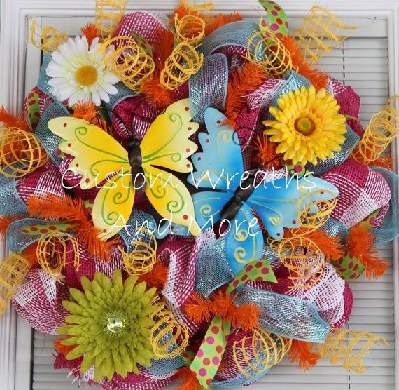 Butterfly Spring Mesh Wreath by CustomWreathsAndMore on Etsy, $65.00