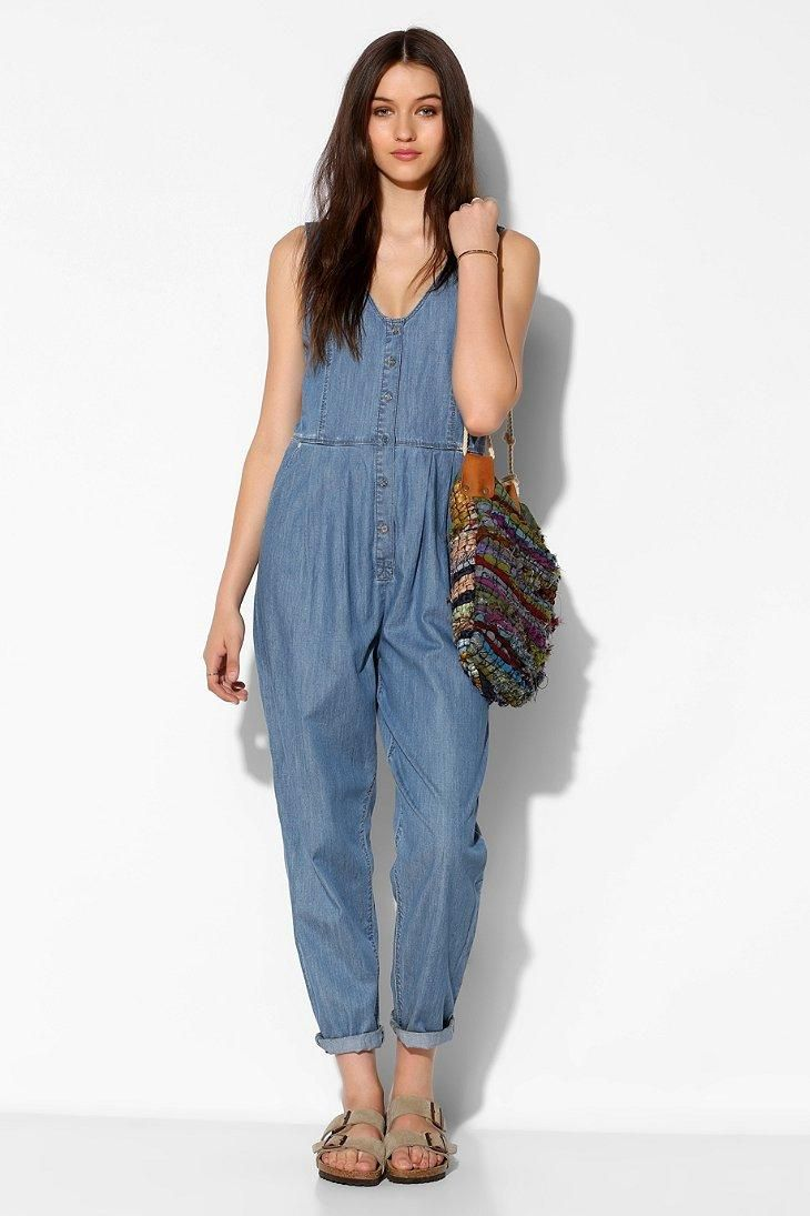 6c7c09eb633 RES Denim Love Bites Chambray Button-Front Jumpsuit  urbanoutfitters