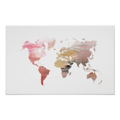 Pink and gold world map poster gold wedding gifts customize pink and gold world map poster gold wedding gifts customize marriage diy unique golden gold wedding pinterest gumiabroncs Choice Image