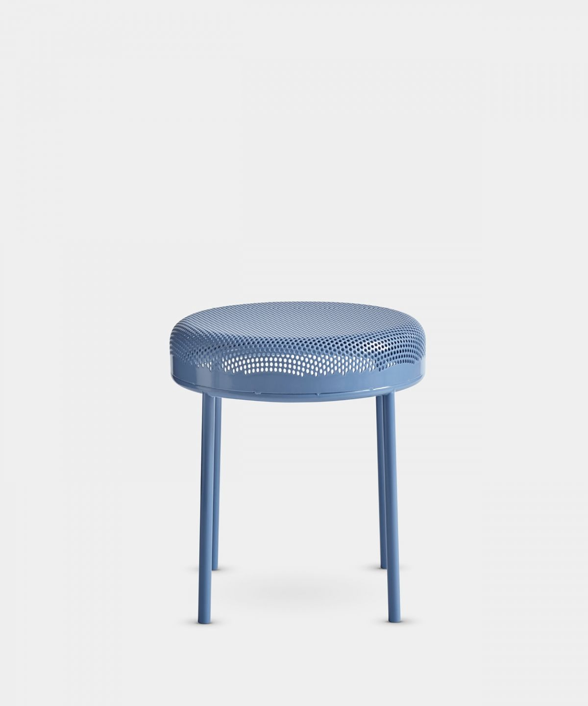 A minimalist, metal stool with a perforated seat. In steel with a powder-coated…