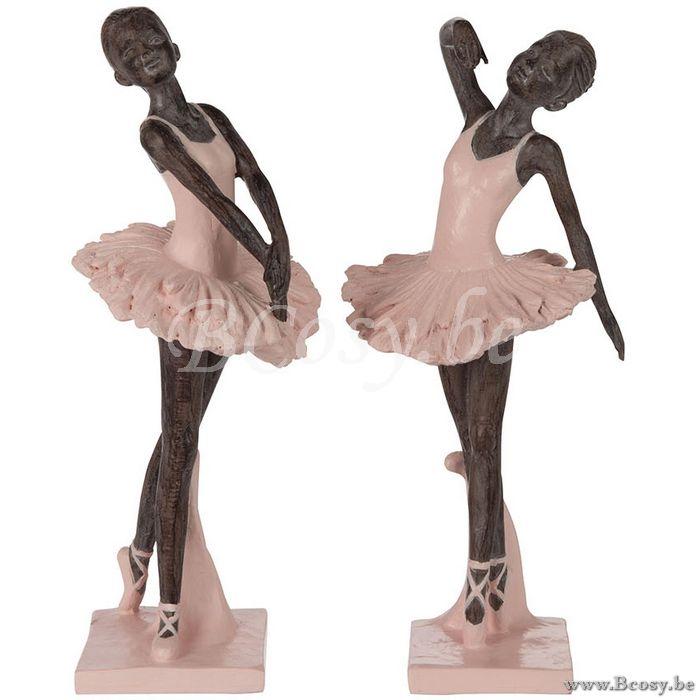 J Line Ballerina Poly Grijs Roze 27h Assortiment Van 2 Stuks Jline By Jolipa 95597 Ballerinas Ballerines Statuettes Ballet Dancers Bee Ballet Decoratie Grijs