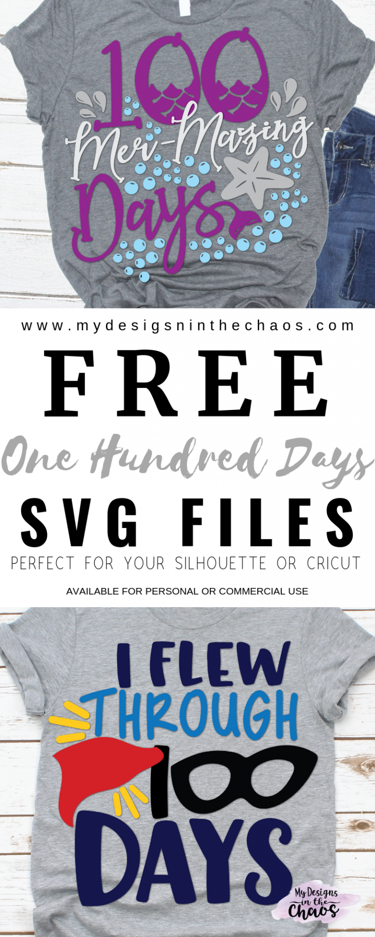 Free 100 Days of School SVG Designs - My Designs In the Chaos