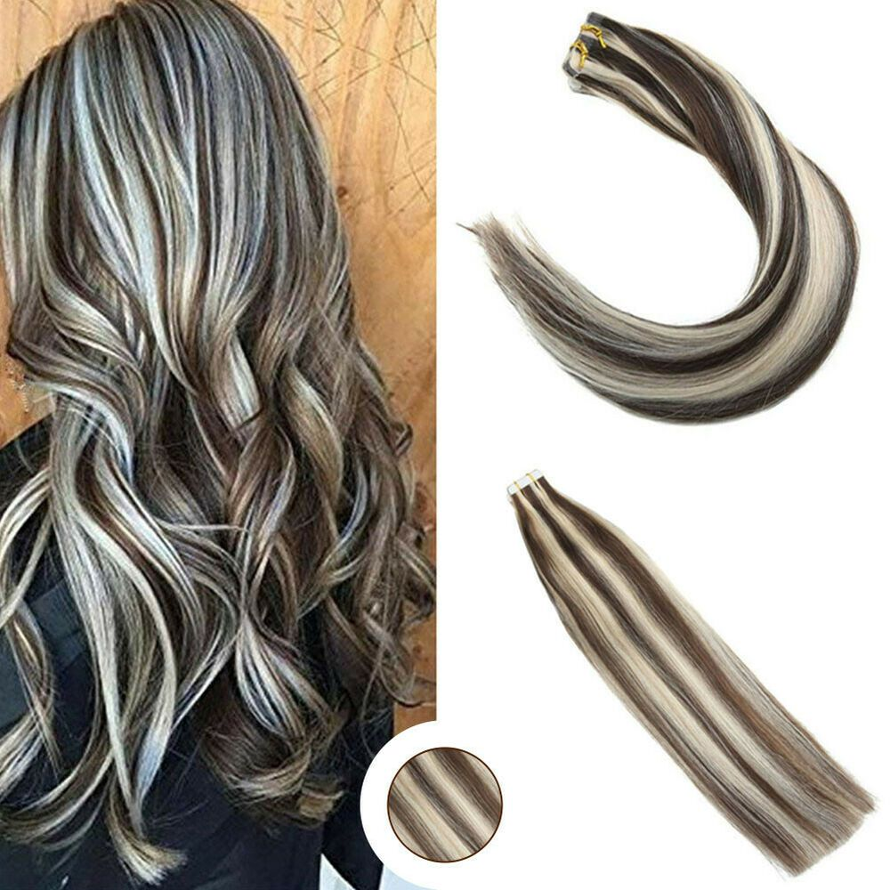 Ugeat 20Pcs Tape in Hair Extensions Remy Hair Brown mix Platinum Blonde P4//60#