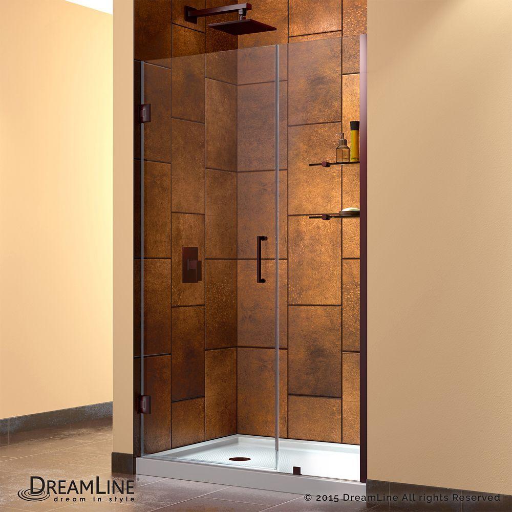 Unidoor 44 To 45 Inch X 72 Inch Frameless Hinged Pivot Shower Door