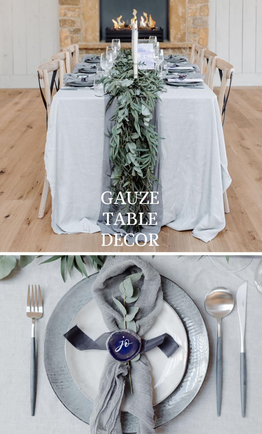 Wood Table Gauze Runner Grey Chargers Google Search In 2020 Table Runners Wedding Wedding Table Flowers Wedding Table