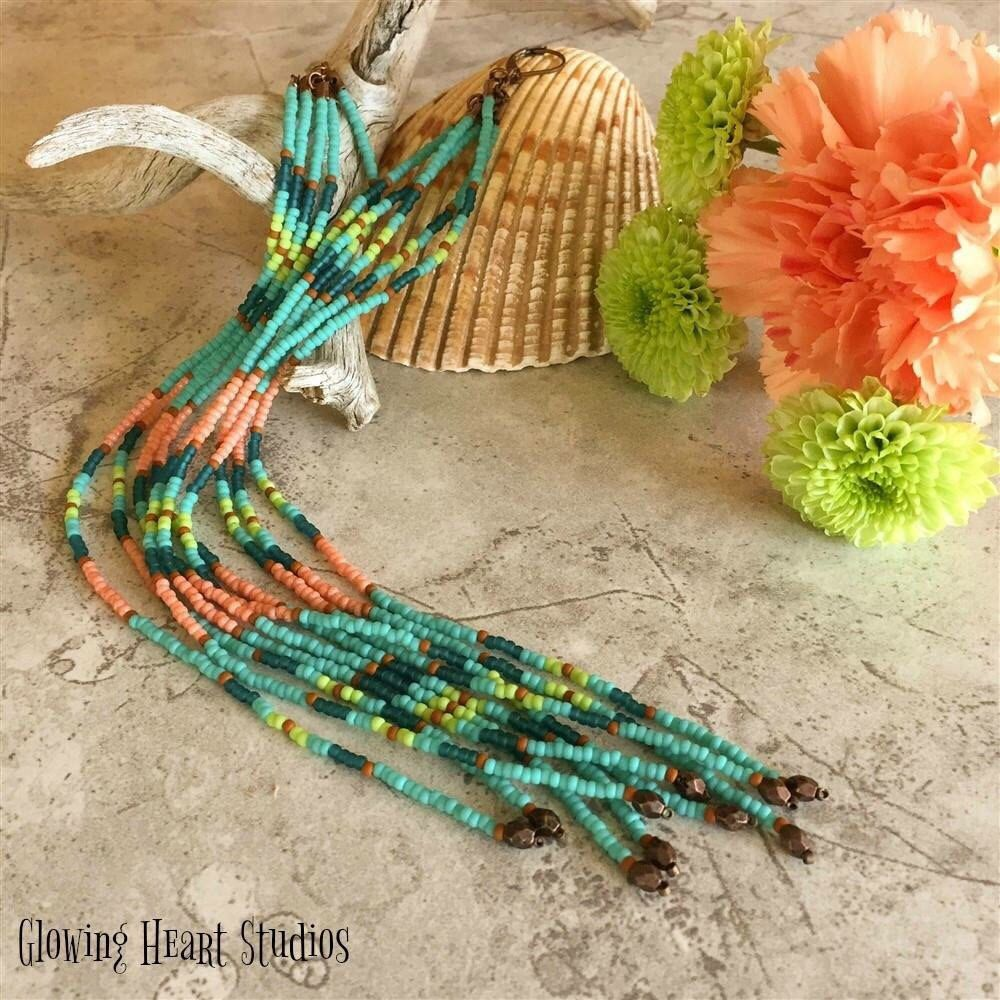 Extra long turquoise fringe earrings ~ available in our Etsy shop ~